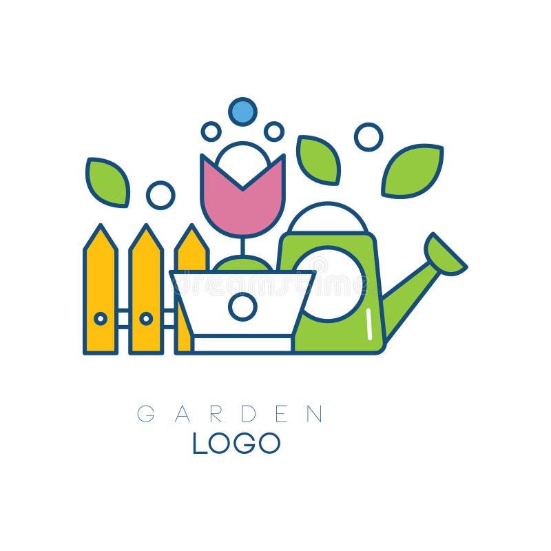Plantilla moderna del logotipo del jardín con poca cerca, la flor en pote y la regadera Icono simple de la afición Emblema linear stock de ilustración