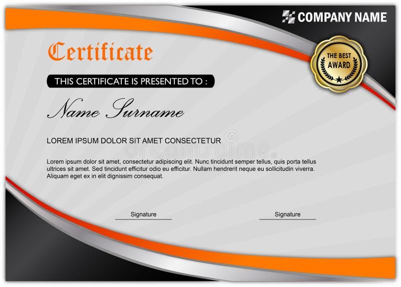 Plantilla moderna del premio del certificado/del diploma, naranja negra stock de ilustración