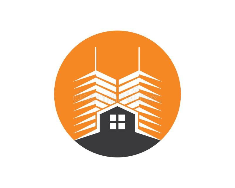 plantilla moderna del vector del edificio de la ciudad de las propiedades inmobiliarias stock de ilustración