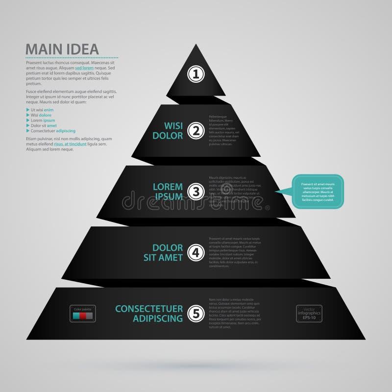 Plantilla moderna del web con la carta de la pirámide hecha de raya de papel negra stock de ilustración