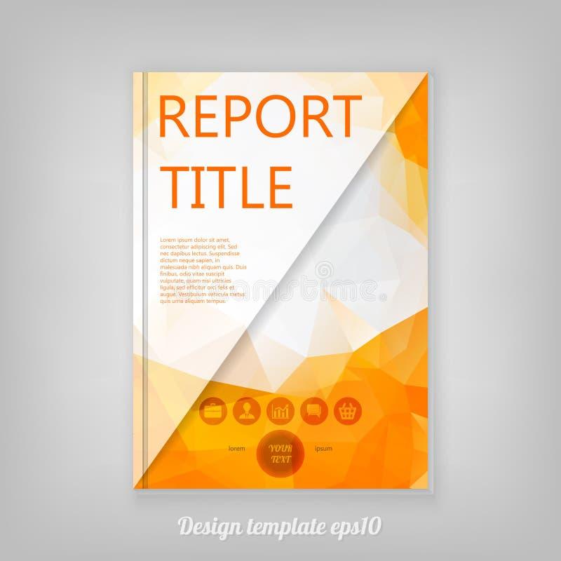 Plantilla moderna para el folleto del negocio con el desig polivinílico bajo anaranjado stock de ilustración