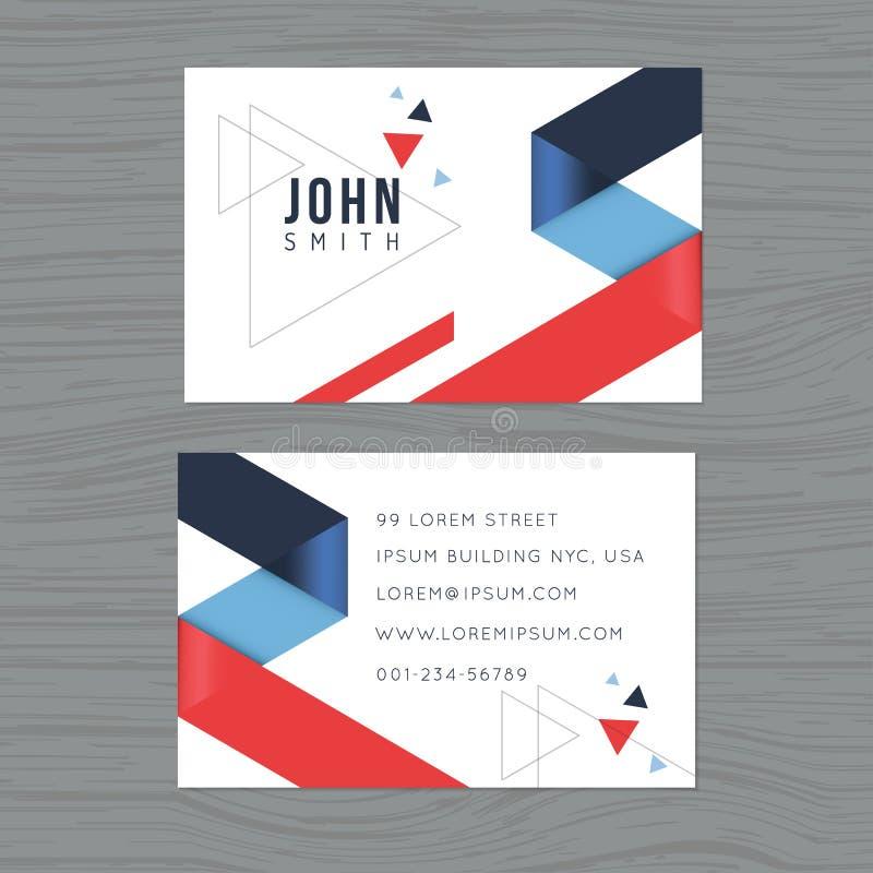Plantilla moderna y limpia de la tarjeta de visita del diseño en fondo azul y rojo del extracto del triángulo Impresión de la pla ilustración del vector