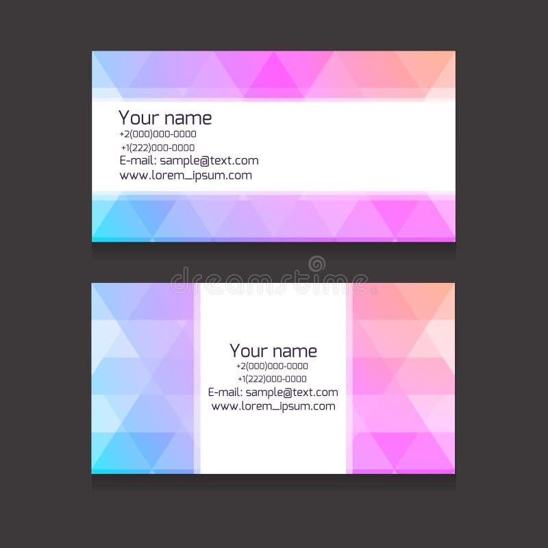 Plantilla multicolora de las tarjetas de visita de fondos poligonales stock de ilustración