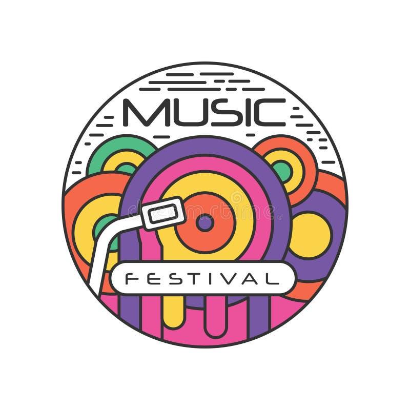 Plantilla multicolora del logotipo para el festival de música Emblema abstracto en estilo linear con el expediente de gramófono V ilustración del vector