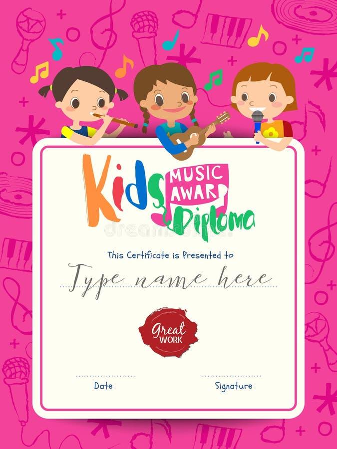plantilla musical del premio de la música del diploma de los niños con la historieta de los niños stock de ilustración