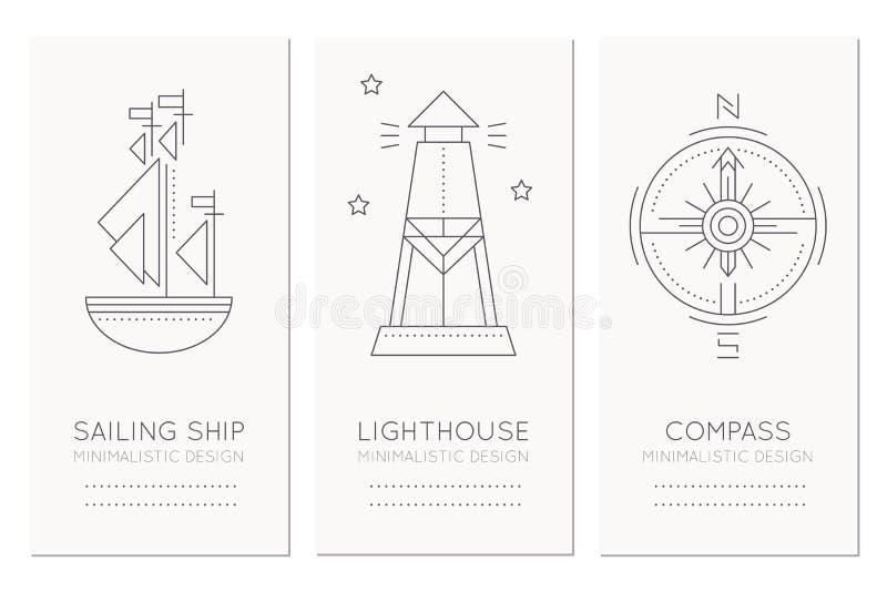 Plantilla náutica del diseño de tarjeta con la línea fina ejemplos del estilo del velero, del faro y de la rosa de compás ilustración del vector