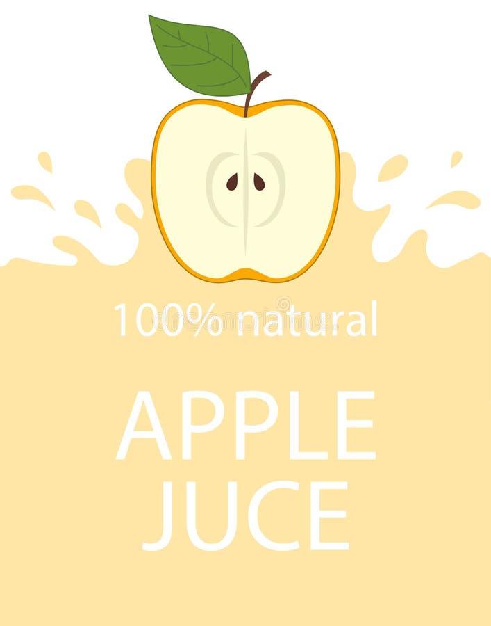 Plantilla natural de la etiqueta del zumo de manzana Fruta fresca orgánica de la manzana del emblema fresco colorido del jugo, ej ilustración del vector
