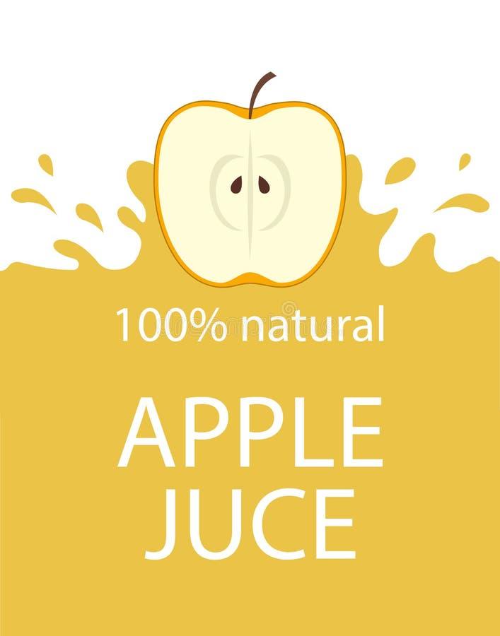 Plantilla natural de la etiqueta del zumo de manzana Fruta fresca orgánica de la manzana del emblema fresco colorido del jugo, ej stock de ilustración