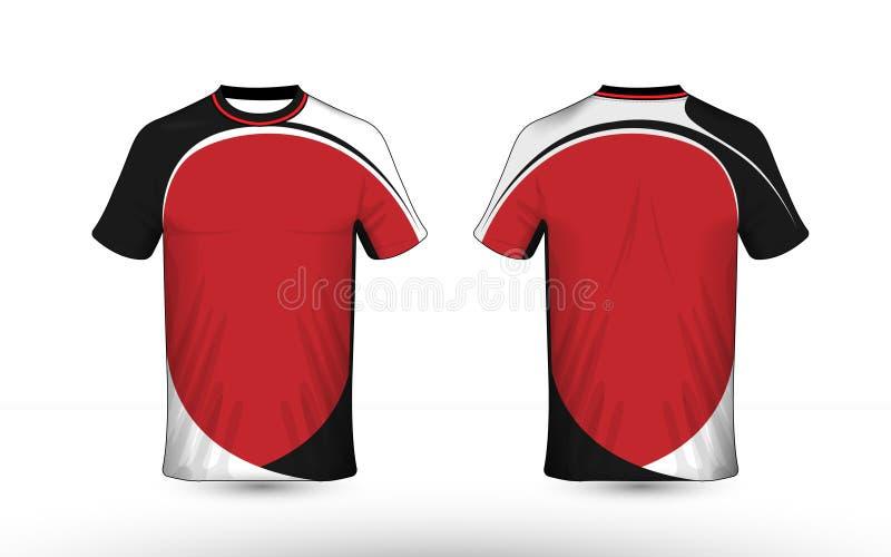 Plantilla negra, blanca y roja del diseño de la camiseta del e-deporte de la disposición ilustración del vector