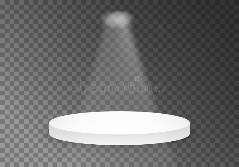 Plantilla negra de la plataforma del vector podio realista del ganador del vector 3D con la luz brillante ilustración del vector