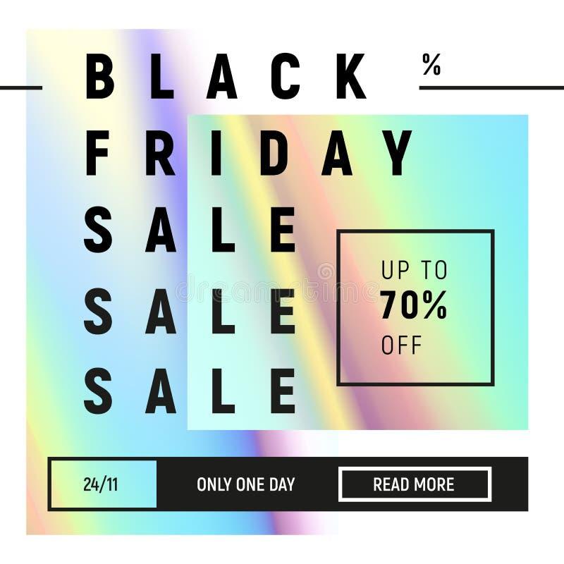 Plantilla negra de la venta de viernes en el estilo flúido olográfico de moda Pendientes azules, rosadas en diseño mínimo ilustración del vector