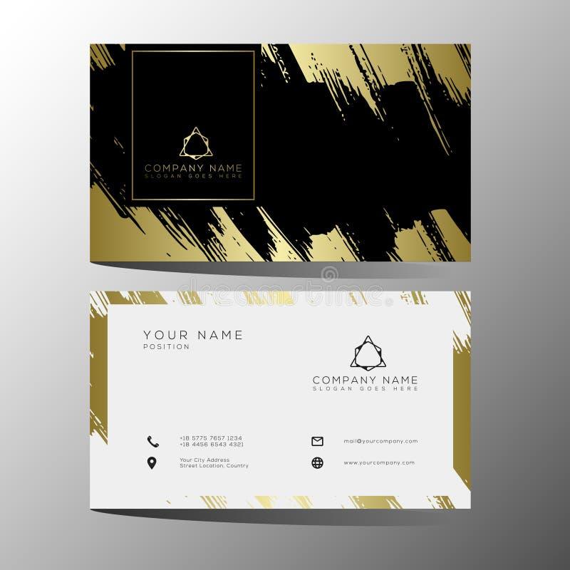 Plantilla negra de lujo y elegante de las tarjetas de visita del oro en fondo negro ilustración del vector