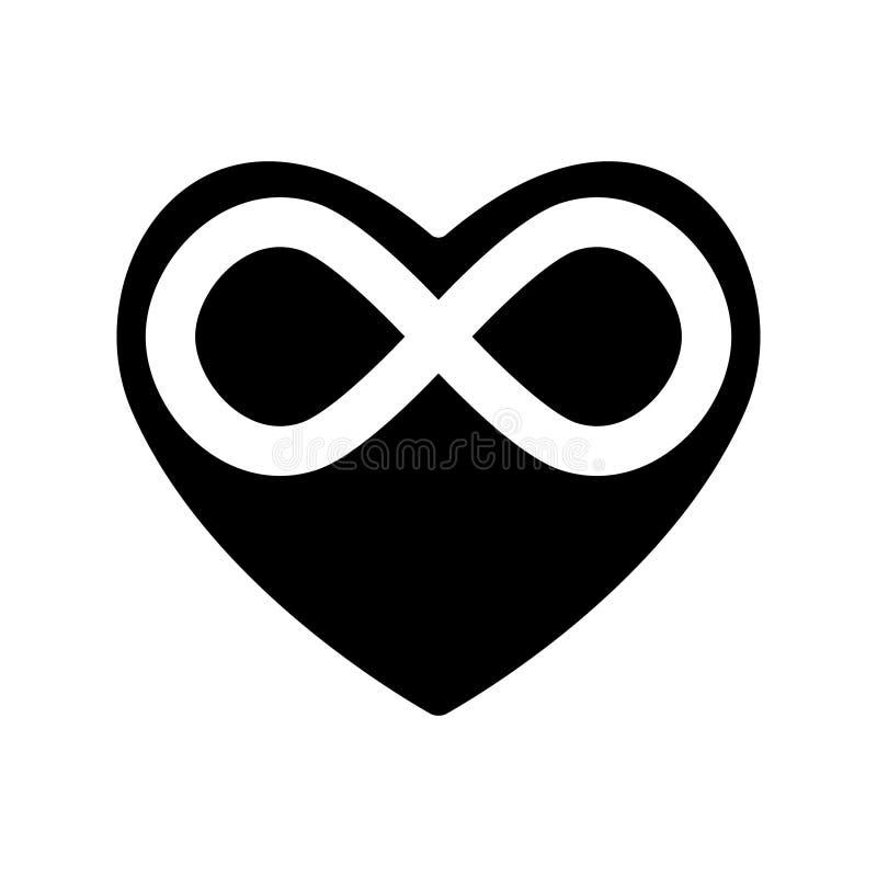 Plantilla negra del corazón del icono con la muestra del infinito Sensaciones sin fin el día de tarjetas del día de San Valentín  stock de ilustración