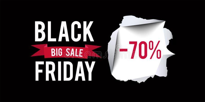 Plantilla negra del diseño de la venta de viernes Black Friday bandera del descuento del 70 por ciento con el fondo negro Ilustra libre illustration