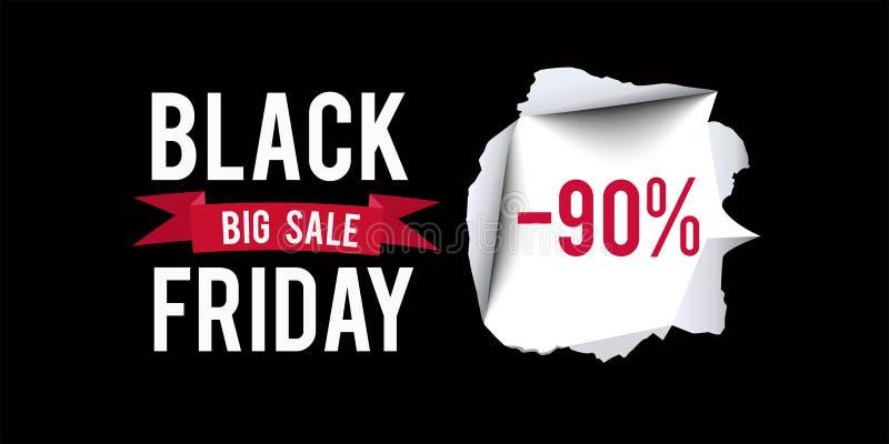 Plantilla negra del diseño de la venta de viernes Black Friday bandera del descuento del 90 por ciento con el fondo negro Ilustra stock de ilustración