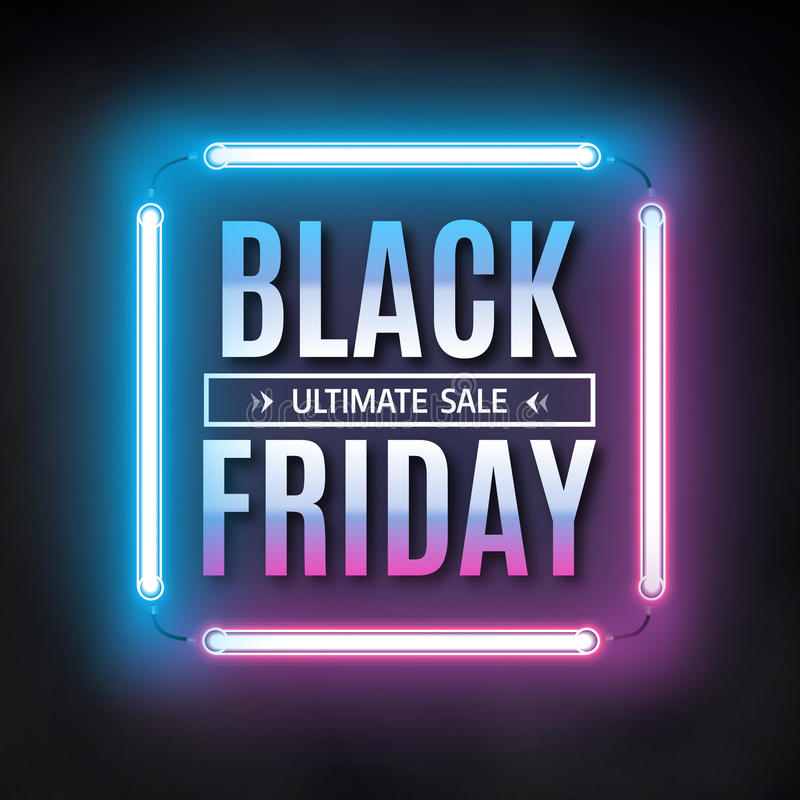 Plantilla negra del diseño de la venta de viernes Marco negro de la luz de viernes Fondo de neón que brilla intensamente Ilustrac ilustración del vector