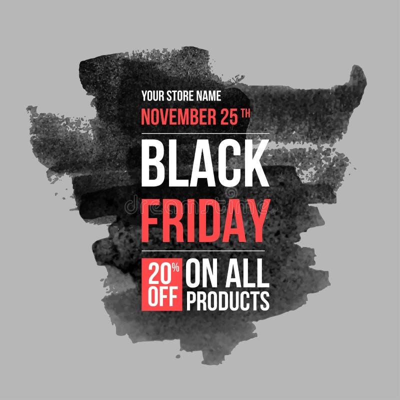 Plantilla negra del diseño de la venta de viernes disposición conceptual para el web y la impresión ilustración del vector