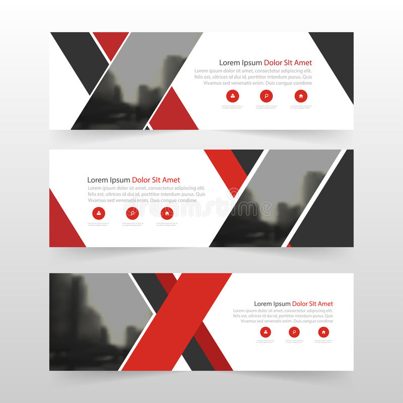 Plantilla negra roja de la bandera del negocio corporativo, sistema plano del diseño de publicidad del negocio de la bandera de l stock de ilustración