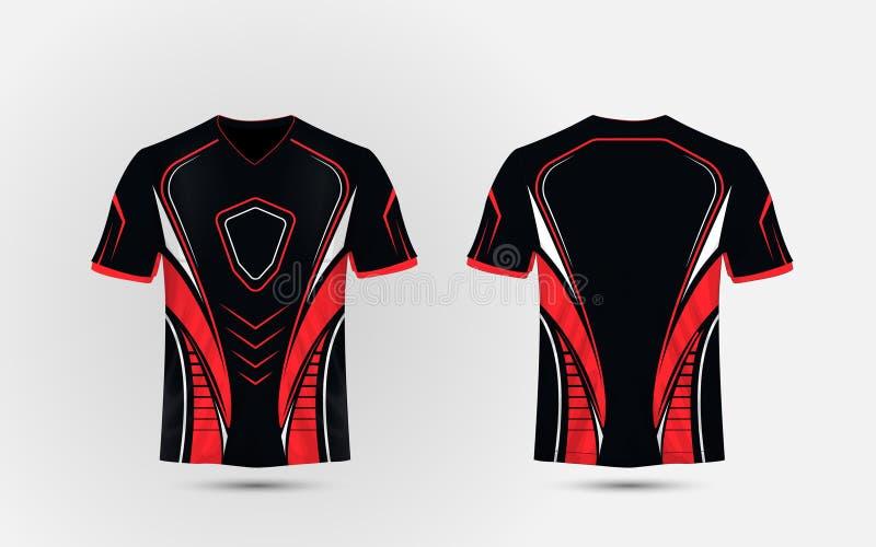 Plantilla negra, roja y blanca del diseño de la camiseta del deporte de la disposición e stock de ilustración