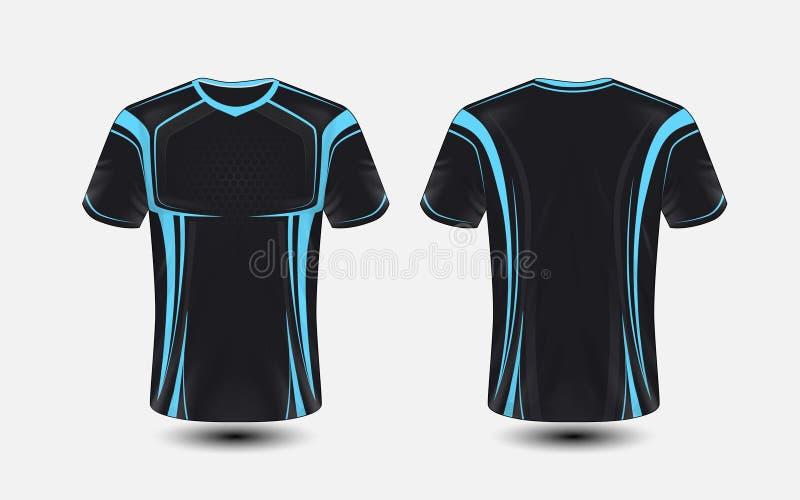 Plantilla negra y azul del diseño de la camiseta del e-deporte de la disposición ilustración del vector