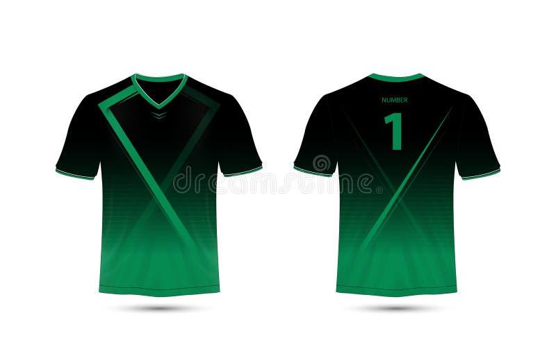 Plantilla negra y verde del diseño de la camiseta del deporte de la disposición libre illustration