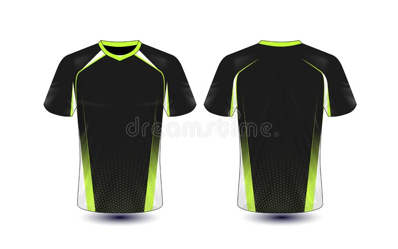 Plantilla negra y verde del diseño de la camiseta del e-deporte de la disposición ilustración del vector