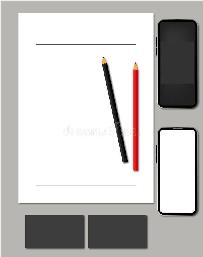 Plantilla o maqueta para la tarjeta social +Letterhead+App del paquete Logo+Business de los medios libre illustration