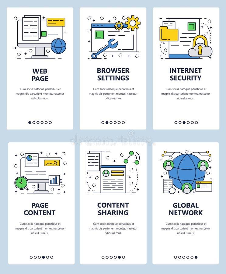 Plantilla onboarding de las pantallas del arte linear del sitio web del vector Contenido de la página web, ajuste de navegador y  stock de ilustración