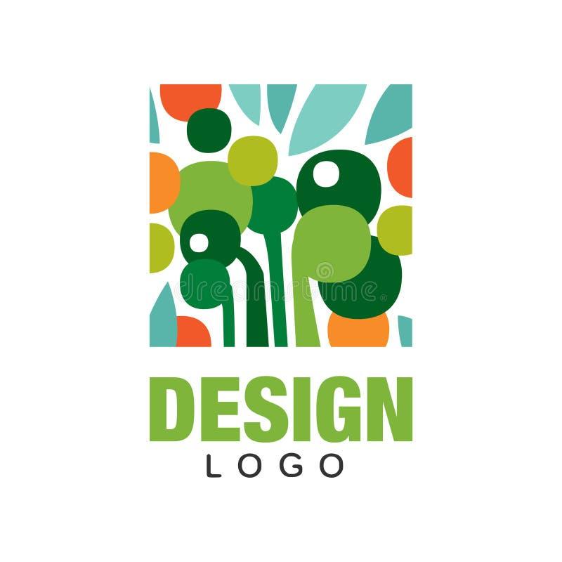 Plantilla orgánica del logotipo de las frutas Etiqueta abstracta en forma rectangular Consumición sana Diseño plano colorido del  ilustración del vector