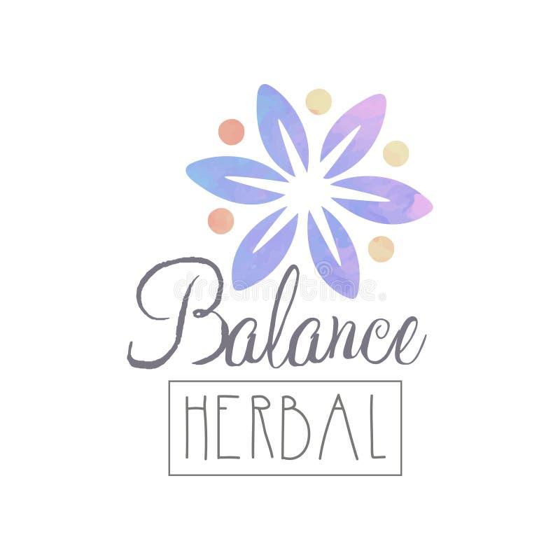 Plantilla original del emblema con la flor y las letras de la acuarela Equilibrio herbario Elemento natural de la pureza Salud y stock de ilustración