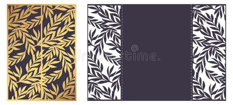 Plantilla ornamental cortada laser del vector Tarjeta de felicitación de lujo, enve ilustración del vector