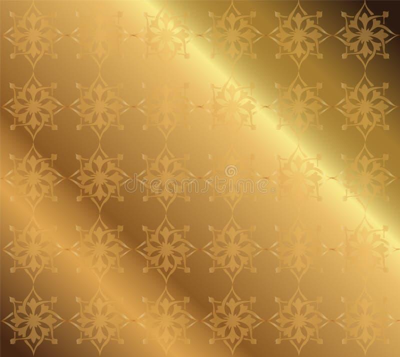 Plantilla ornamental de lujo floral del modelo del vector de oro del fondo libre illustration