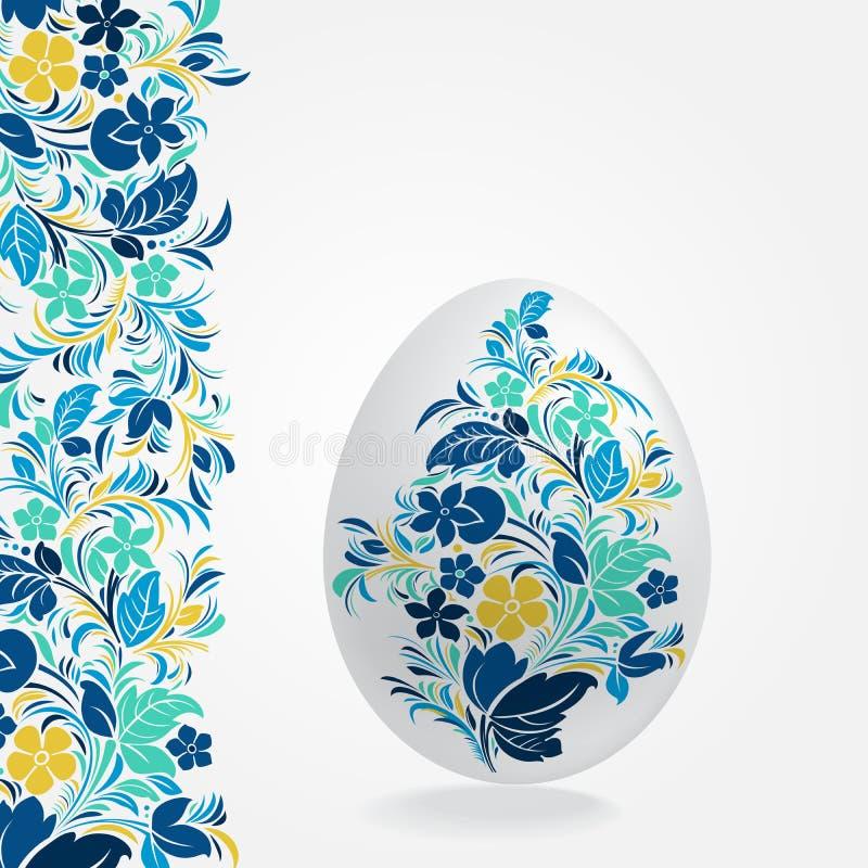 Los huevos de Pascua diseñan el carro del poste de la plantilla ilustración del vector