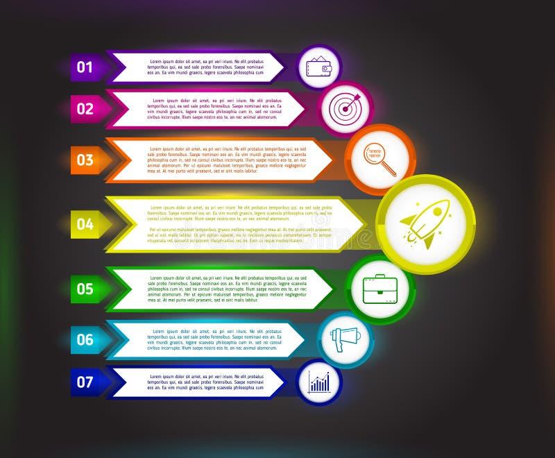 Plantilla oscura abstracta del infographics con las flechas Templa del negocio libre illustration