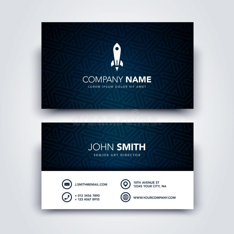 Plantilla oscura del ejemplo del vector y limpia creativa moderna de la tarjeta de visita - frente y parte trasera libre illustration
