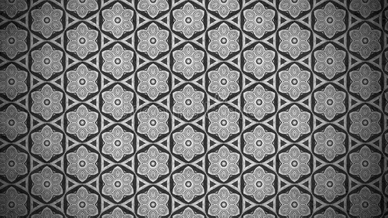 Plantilla oscura del fondo de Grey Vintage Floral Pattern Texture ilustración del vector
