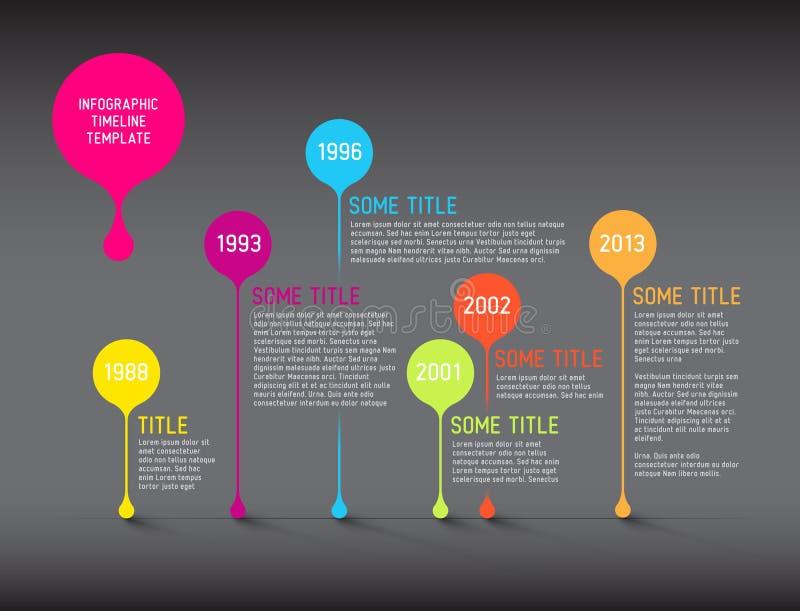 Plantilla oscura del informe de la cronología de Infographic con las burbujas ilustración del vector