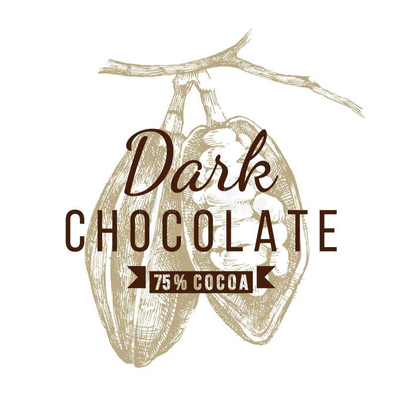 Plantilla oscura del logotipo del chocolate ilustración del vector