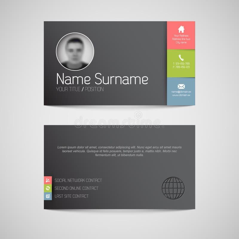 Plantilla oscura moderna de la tarjeta de visita con la interfaz de usuario plana ilustración del vector