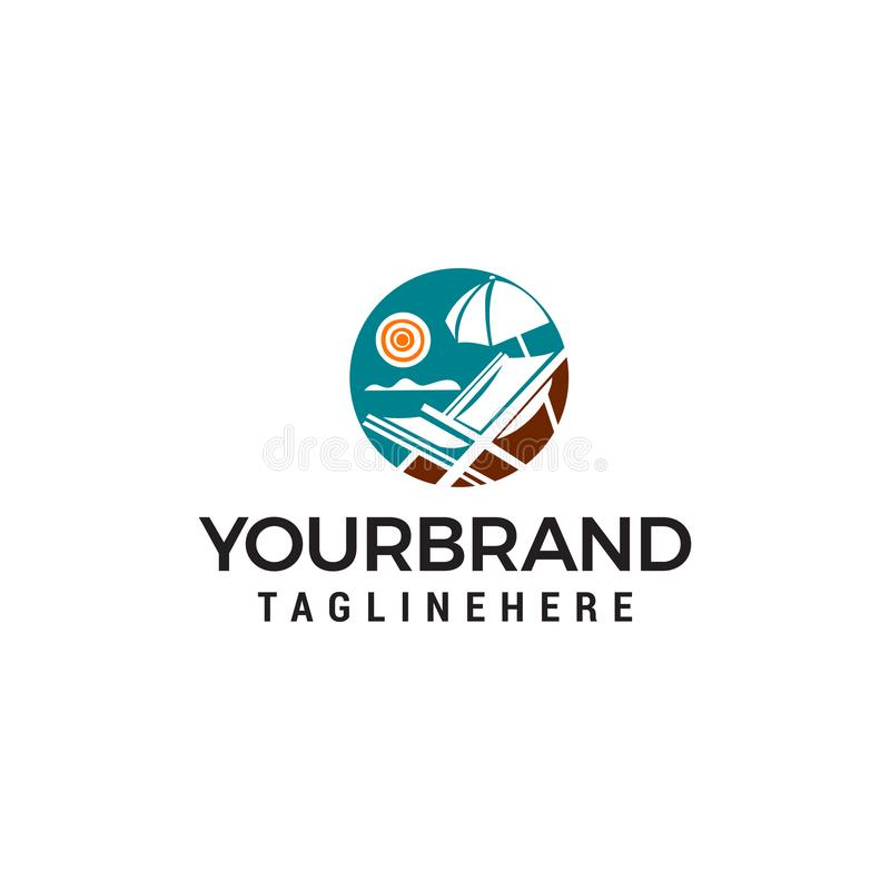 Plantilla panorámica del concepto de diseño del logotipo del mar del verano stock de ilustración