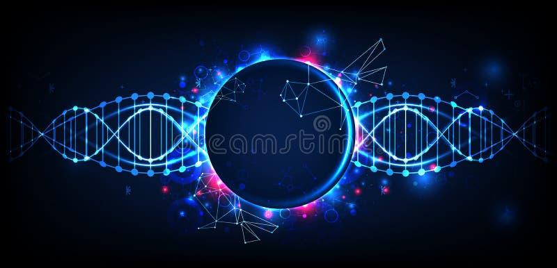 Plantilla, papel pintado o bandera de la ciencia con las moléculas de una DNA ilustración del vector