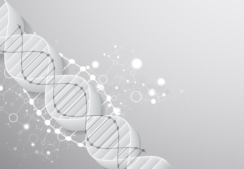 Plantilla, papel pintado o bandera de la ciencia con las moléculas de una DNA 3D stock de ilustración