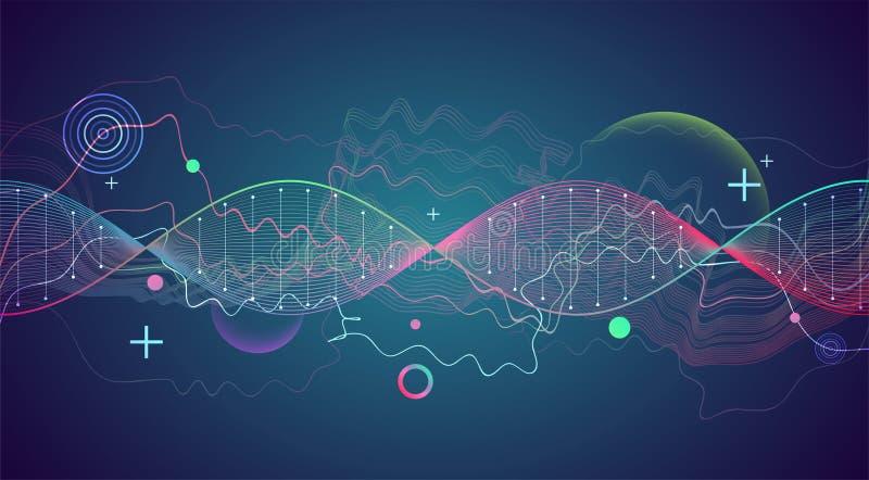 Plantilla, papel pintado o bandera de la ciencia con las moléculas de una DNA stock de ilustración
