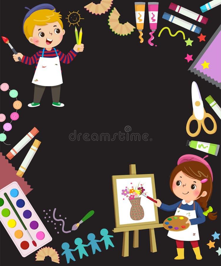 Plantilla para antecedentes publicitarios en concepto de arte con dos artistas de niños ilustración del vector
