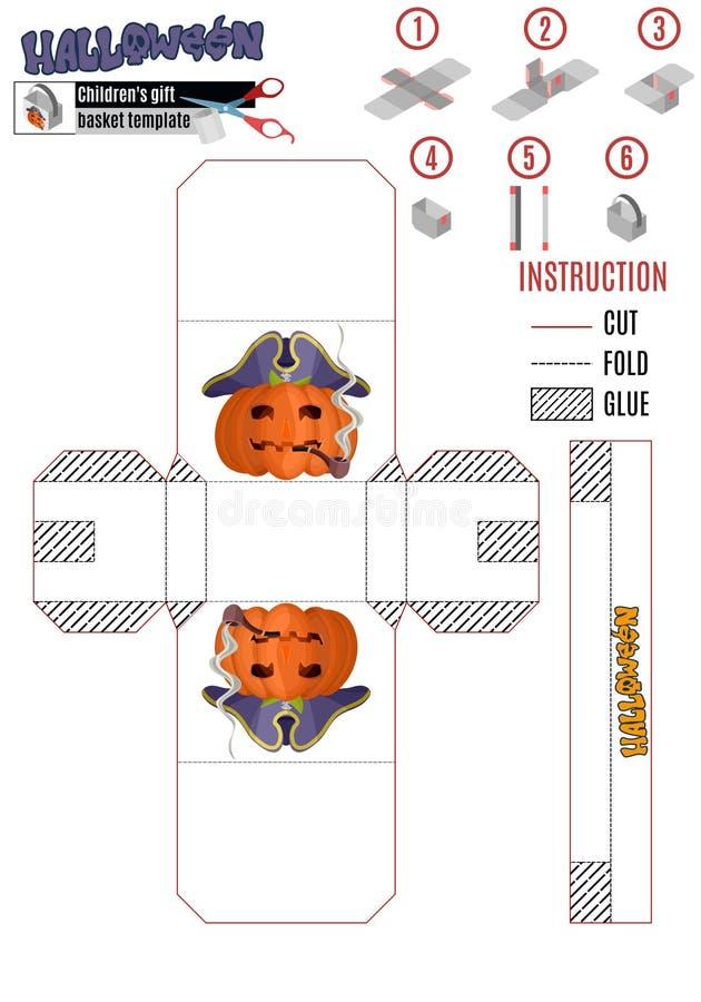 Plantilla para construir una caja blanca con un pirat de la calabaza de Halloween stock de ilustración