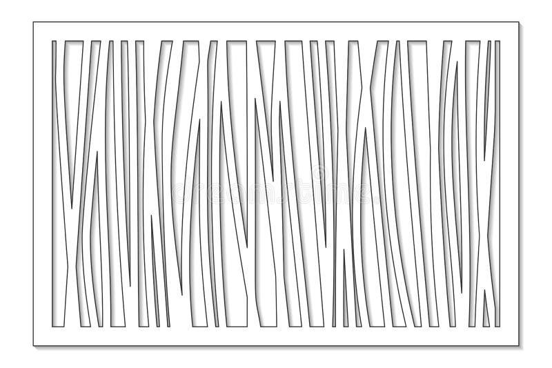 Plantilla para cortar Línea abstracta, modelo geométrico Corte del laser Fije el 2:3 del ratio Ilustración del vector stock de ilustración