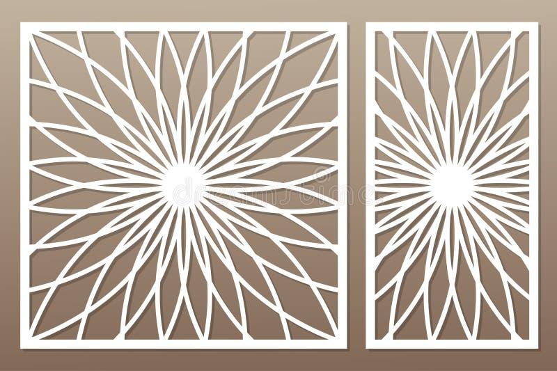 Plantilla para cortar Mandala, modelo del Arabesque Corte del laser conjunto ilustración del vector