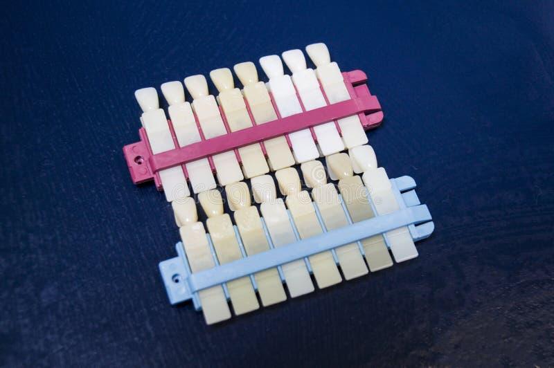 Plantilla para determinar el color y la condición de los dientes imagen de archivo