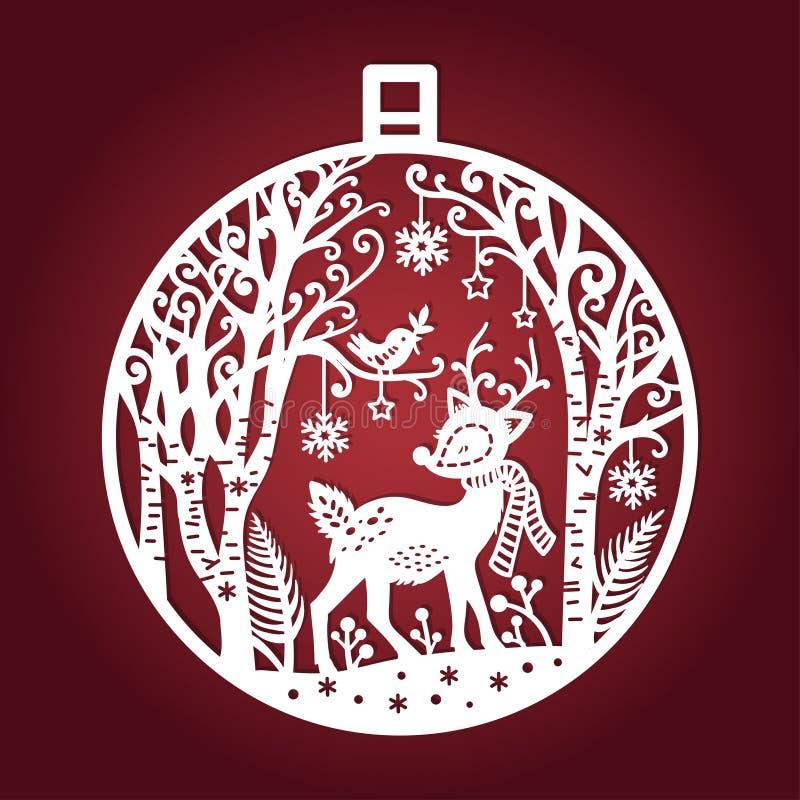 Plantilla para el corte del laser Bola de la Navidad Vector stock de ilustración