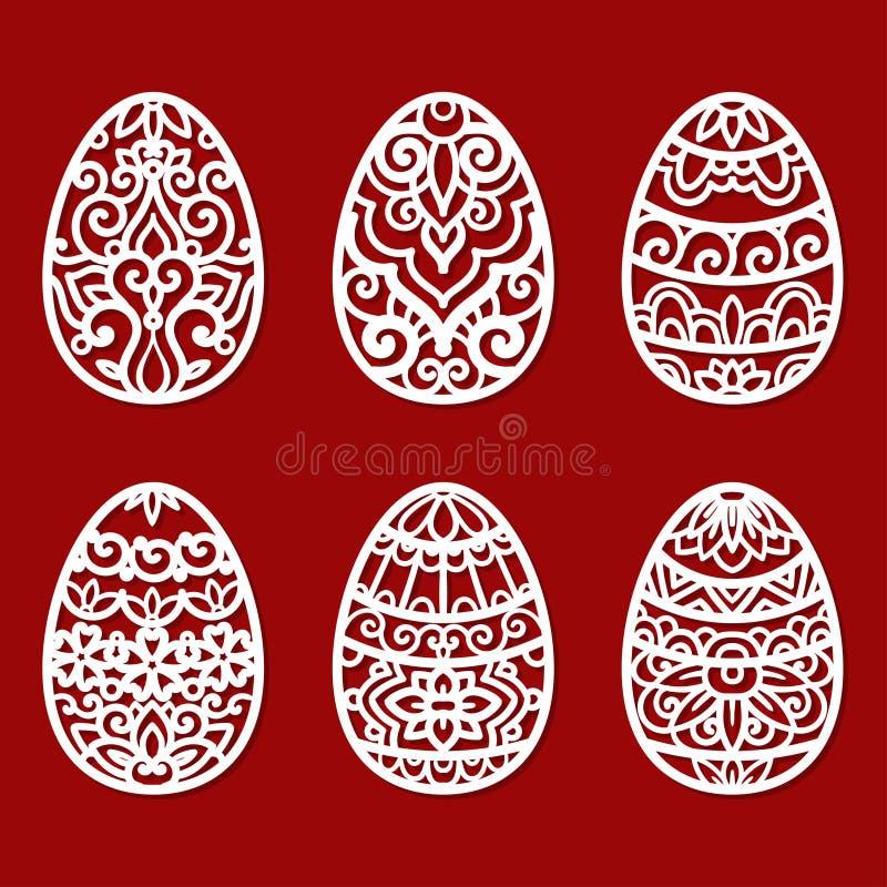 Plantilla para el corte del laser Huevo de Pascua stock de ilustración